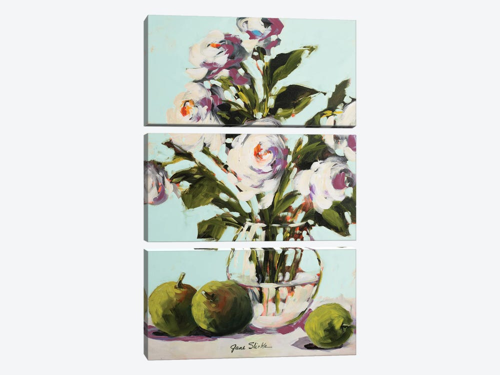 White Rose by Jane Slivka 3-piece Canvas Art Print