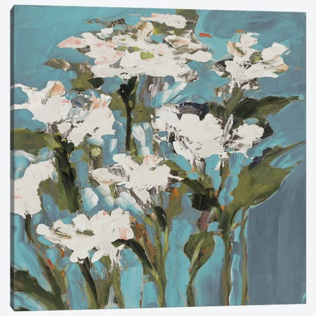 Wild Flowers on Blue I Canvas Print #JSL81} by Jane Slivka Art Print