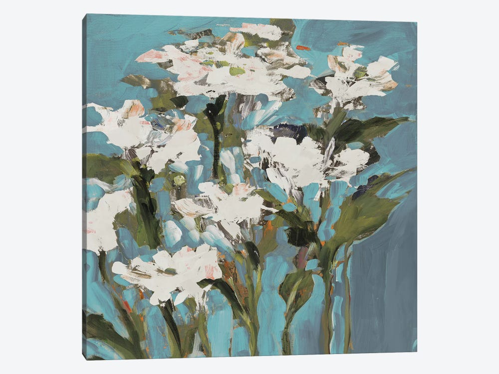 Wild Flowers on Blue I 1-piece Canvas Art