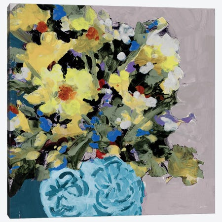 Yellow Daisies in Blue Vase Canvas Print #JSL82} by Jane Slivka Canvas Print