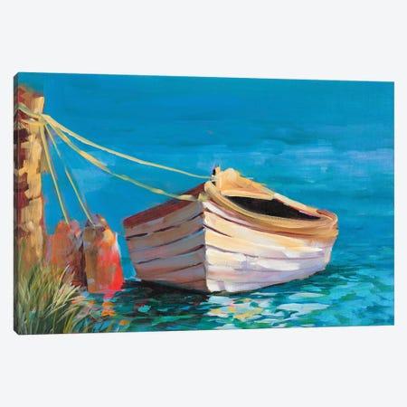 Canoe on the Dark Blue Lake Canvas Print #JSL84} by Jane Slivka Canvas Wall Art