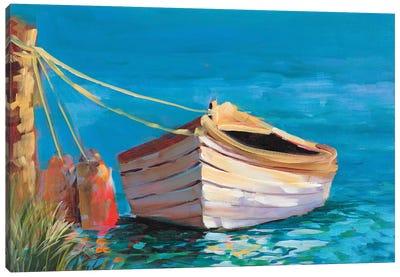 Canoe on the Dark Blue Lake Canvas Art Print