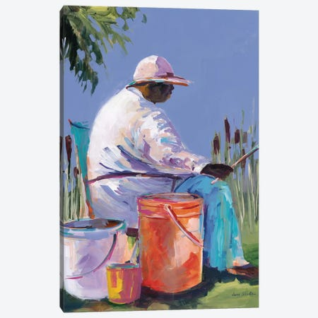 Sisters Fishing I Canvas Print #JSL90} by Jane Slivka Canvas Art