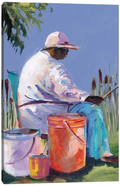 Sisters Fishing I Canvas Art Print