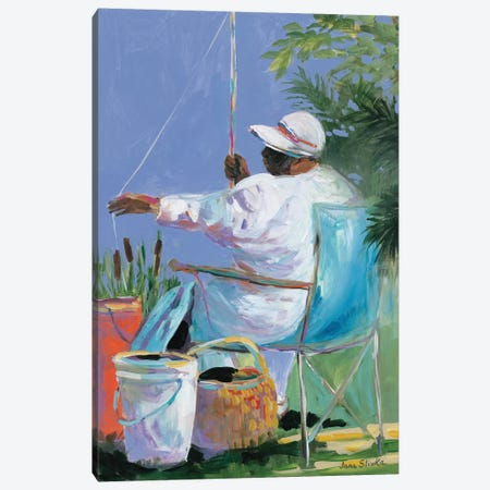Sisters Fishing II Canvas Print #JSL91} by Jane Slivka Canvas Wall Art