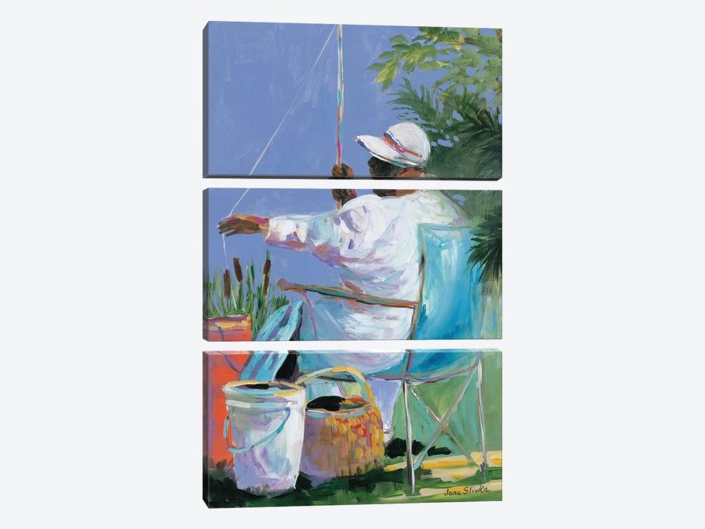 Sisters Fishing II by Jane Slivka 3-piece Canvas Art Print