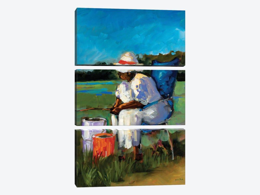 Fishing Again by Jane Slivka 3-piece Canvas Wall Art