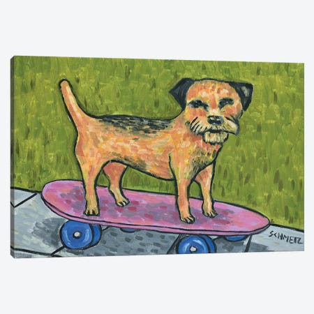 Border Terrier Skateboarding Canvas Print #JSM10} by Jay Schmetz Canvas Print