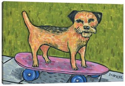 Border Terrier Skateboarding Canvas Art Print
