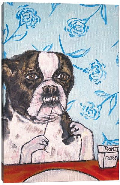 Boston Terrier Floss Canvas Art Print
