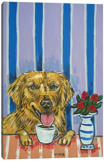 Golden Retriever Coffee Canvas Art Print