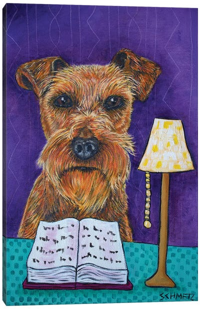 Irish Terrier Reading Canvas Art Print