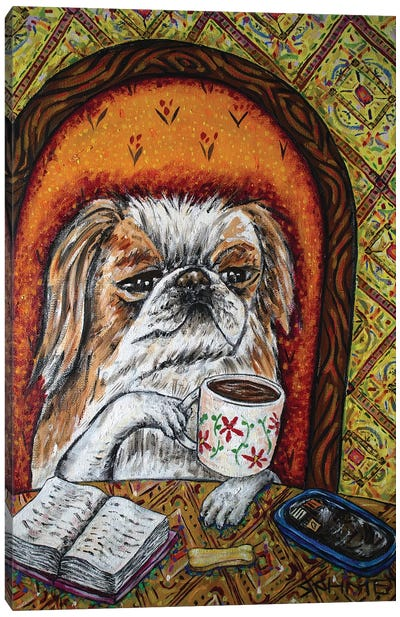Pekingese Coffee Canvas Art Print