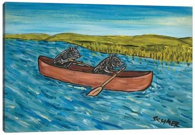 Pig Canoe Canvas Art Print