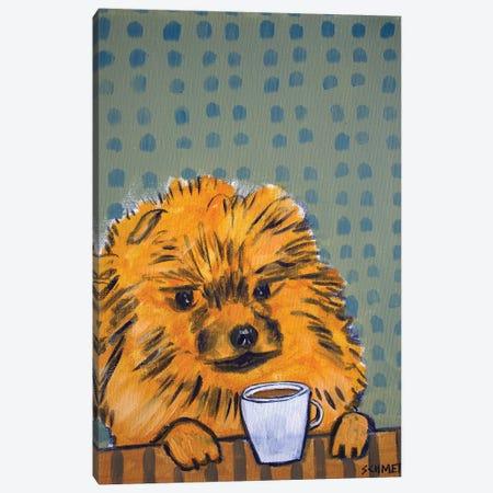 Pomeranian Coffee Canvas Print #JSM50} by Jay Schmetz Art Print