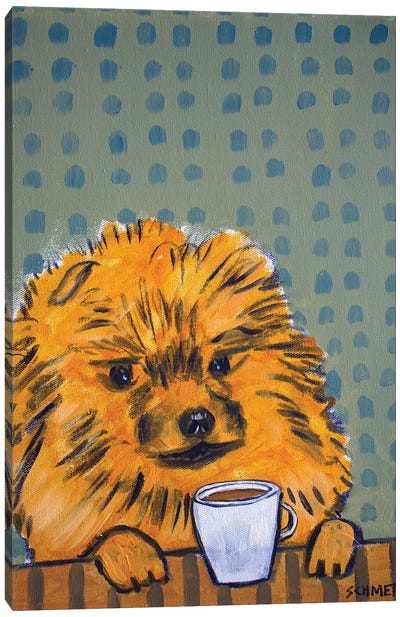 Pomeranian Coffee Canvas Art Print