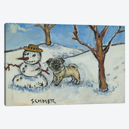 Pug Snowman Canvas Print #JSM54} by Jay Schmetz Canvas Art