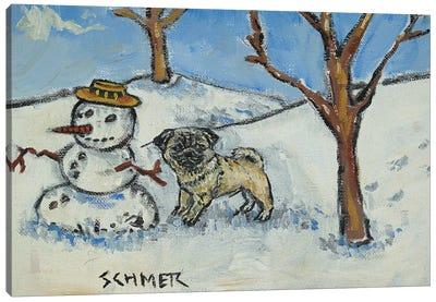 Pug Snowman Canvas Art Print