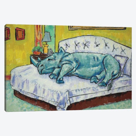 Rhino Sleeping Canvas Print #JSM60} by Jay Schmetz Canvas Wall Art