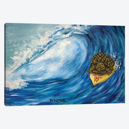Turtle Surfing Canvas Print #JSM66} by Jay Schmetz Canvas Art Print