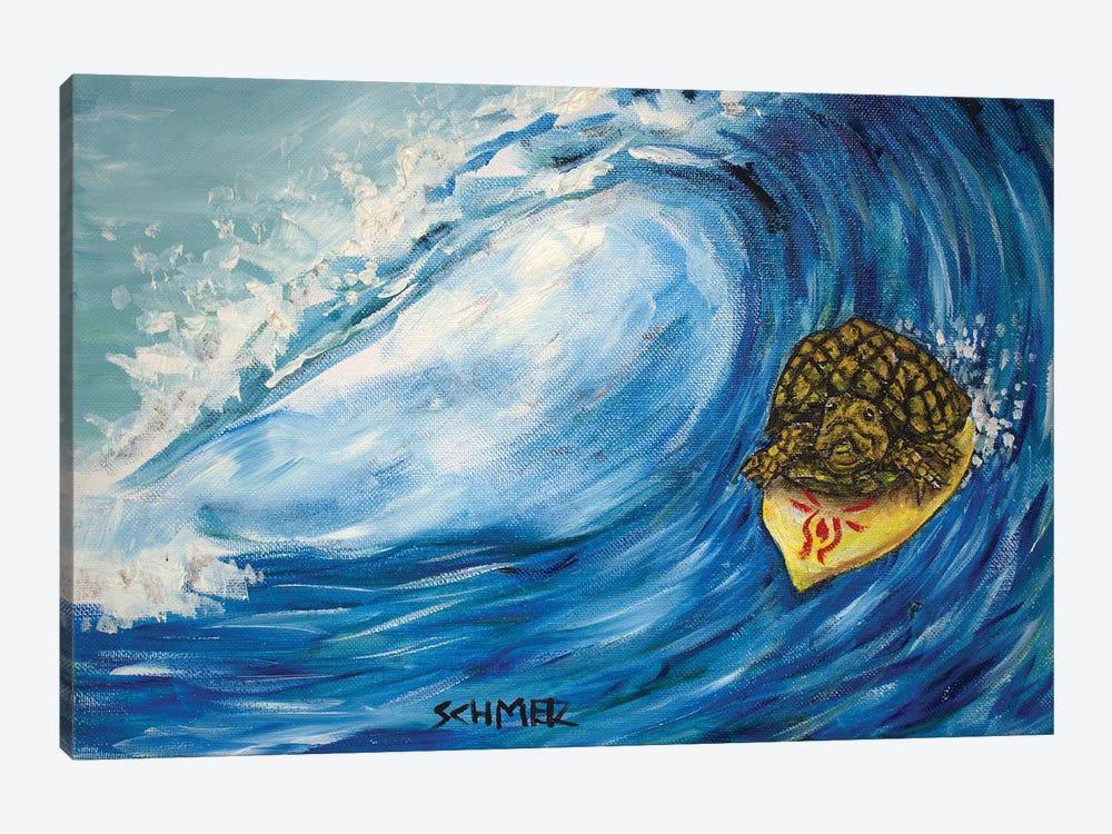 Turtle Surfing by Jay Schmetz 1-piece Canvas Wall Art