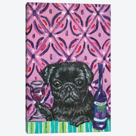 Black Pug Wine Canvas Print #JSM7} by Jay Schmetz Canvas Artwork