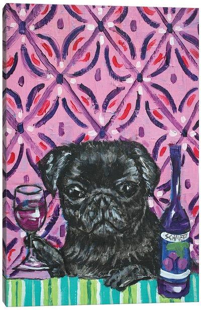 Black Pug Wine Canvas Art Print