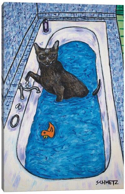 Bombay Cat Bath Canvas Art Print