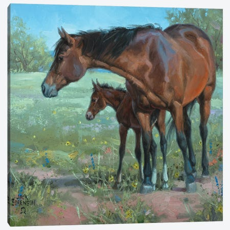 Under Mama's Watchful Eye 3-Piece Canvas #JSO10} by Jack Sorenson Canvas Art Print