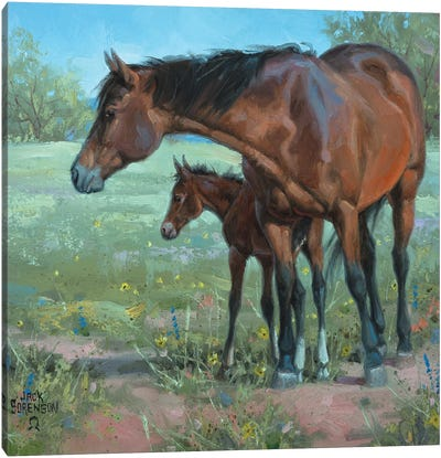 Under Mama's Watchful Eye Canvas Art Print