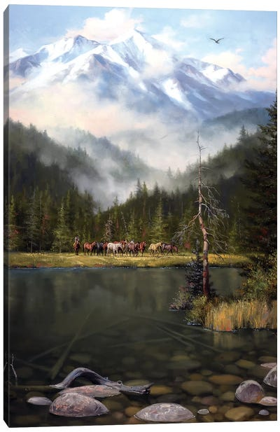 As the Mist Slowly Rises Canvas Art Print