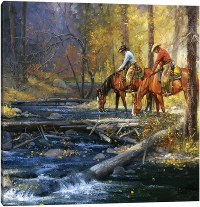 Cold Water & Falling Leaves Canvas Art Print