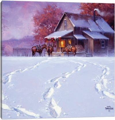 All Tracks Lead Home for the Holidays Canvas Art Print