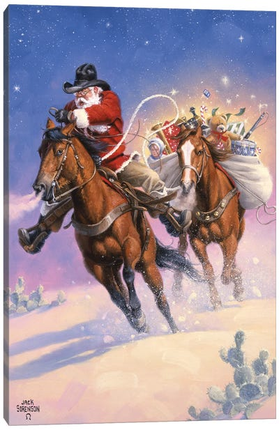 Santas Big Ride Canvas Art Print
