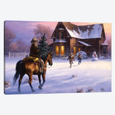 The Day Daddy Brought Home the Tree Canvas Print #JSO47} by Jack Sorenson Art Print