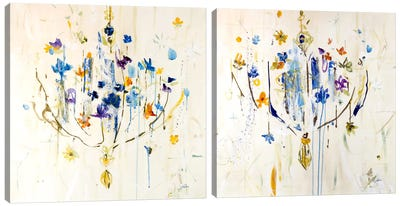 Natural Chandelier Diptych Canvas Art Print