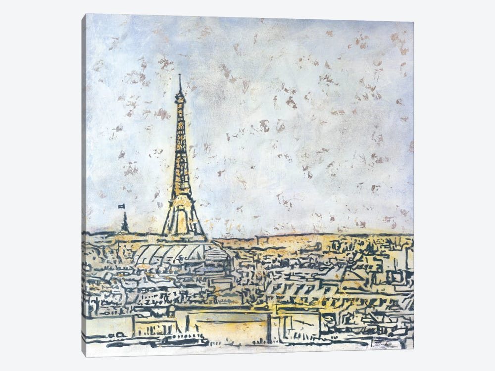 Paris Postcard by Julian Spencer 1-piece Canvas Wall Art