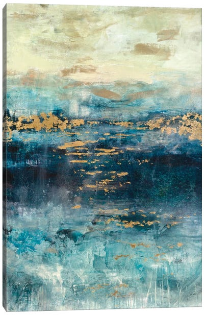 Teal & Gold Scape Canvas Art Print