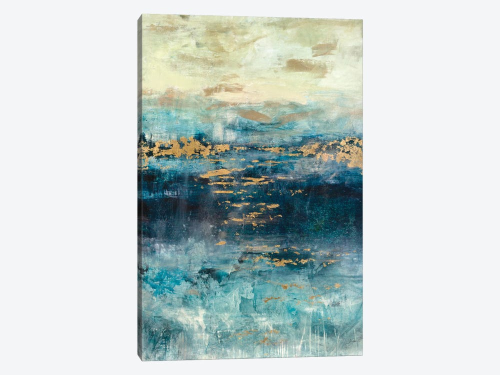 Teal & Gold Scape by Julian Spencer 1-piece Canvas Wall Art