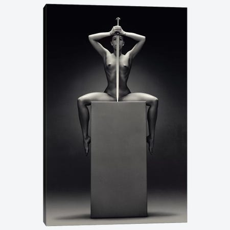 Nude Woman With Sword Canvas Print #JSW125} by Johan Swanepoel Art Print