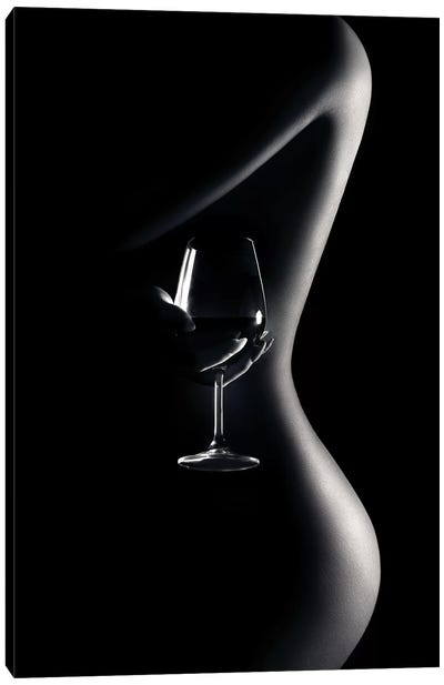 Nude Woman Red Wine 3 Canvas Art Print