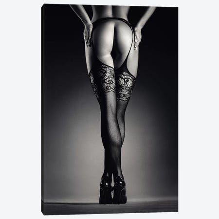 Sensual Legs In Stockings Canvas Print #JSW138} by Johan Swanepoel Canvas Art Print