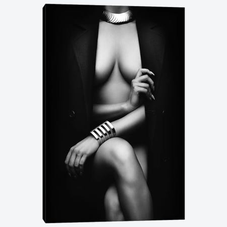 Nude Woman With Jacket 1 Canvas Print #JSW149} by Johan Swanepoel Canvas Art
