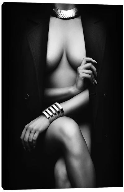 Nude Woman With Jacket 1 Canvas Art Print