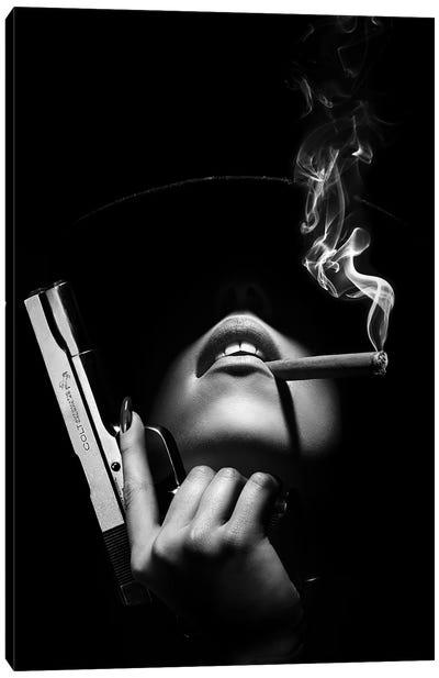 Woman With Handgun Canvas Art Print