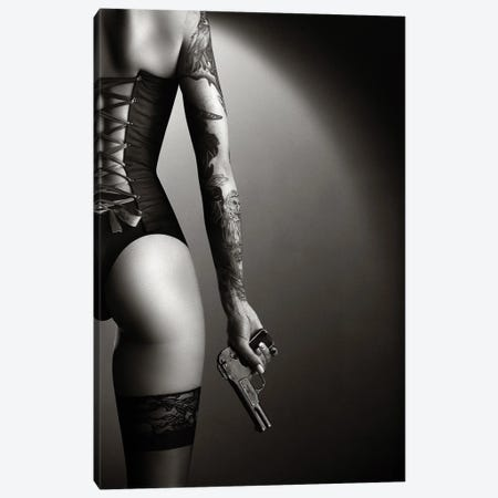 Woman in lingerie with handgun Canvas Print #JSW174} by Johan Swanepoel Canvas Artwork