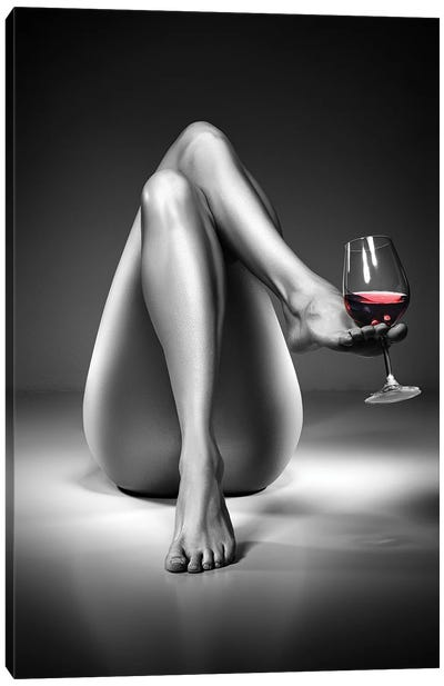 Nude Woman Red Wine IV Canvas Art Print