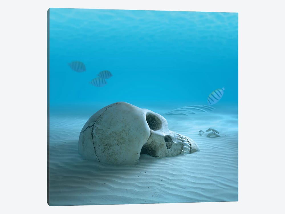 Skull On Sandy Ocean Bottom With Small Fish Cleaning Some Bones by Johan Swanepoel 1-piece Canvas Art Print
