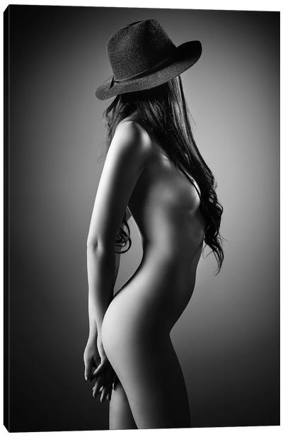 Nude Woman With A Hat Canvas Art Print