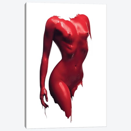 Woman Body Red Paint 3-Piece Canvas #JSW75} by Johan Swanepoel Canvas Artwork